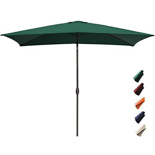 RUBEDER Rectangular Patio Umbrella – 6.6 by 10 Ft Outdoor Market Table Umbrellas with Push Button Tilt and Crank Lift,6 Sturdy Square Ribs (6.6 by 10 Ft, Dark Green)