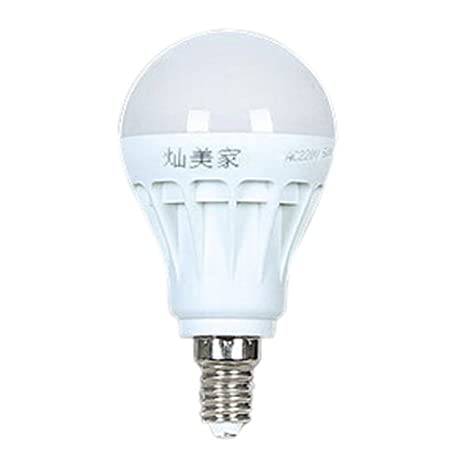 TOOGOO(R)E14 Ahorro de Energia LED Bombilla Luz Lampara 220V 5W BLANCO FRIO Normal: Amazon.es: Iluminación