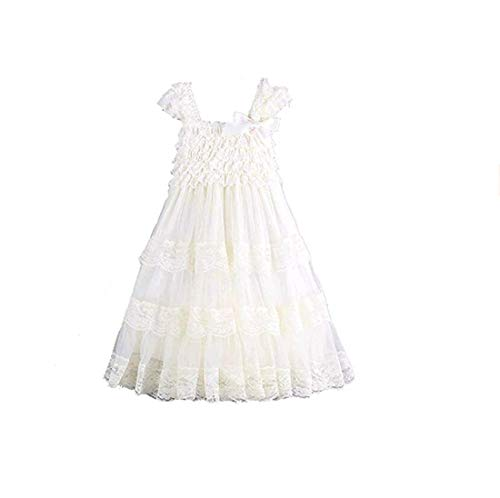 CVERRE lace Flower Rustic Burlap Girl Baby Country Wedding Flower Dress (WH,S) Ivory ()