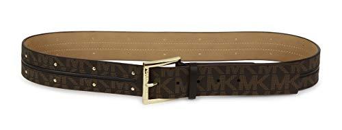 Michael Kors Womens MK Monogram Goldtone Buckle & Mini Studs Belt - Brown (Large) ()