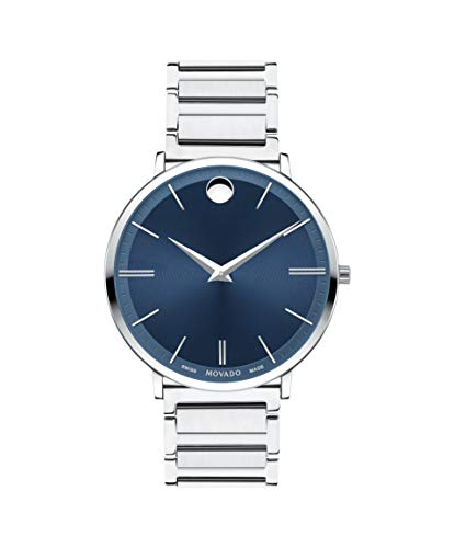 (Movado Ultra Slim, Stainless Steel Case, Blue Dial, Stainless Steel Bracelet, Men, 0607168 )