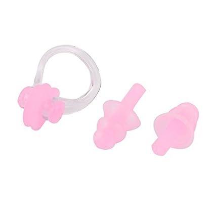 eDealMax Natación de silicona Suave Clip de la nariz Swin tapón auditivo Conjunto Par rosa