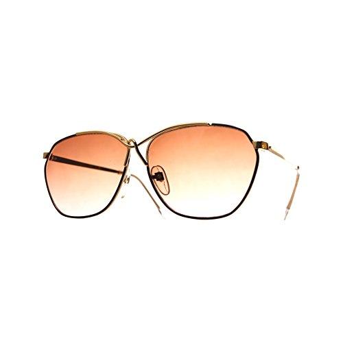 House of Sunglasses Men's Oversized Criss Cross Bridge Gold Frame Brown Lens 5cm - Criss Sunglasses Cross