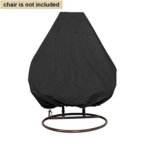 boyspringg Patio Hanging Egg Chair Cover Waterproof Wicker Egg Swing Chair Covers Double Outdoor Furniture Protector Dust-Proof 91X80 inches Black (Wicker Chair Offers Egg Hanging)
