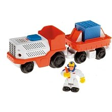 - Fisher Price Geotrax Lights & Sounds Vehicles The Express Team Meet Wheeler & Wes - Airport Baggage Car