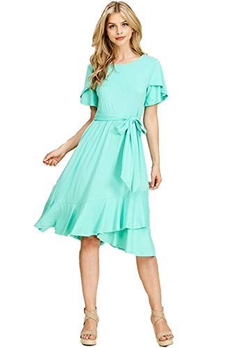 Mint Tie Waist Dress - Neesees dresses Midi Dress (Mint w/Tie Waist, Small)