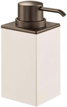 mDesign Modern Square Plastic Refillable Liquid Soap Dispenser Pump Bottle for Bathroom Vanity Countertop, Kitchen Sink - Holds Hand Soap, Dish Soap, Hand Sanitizer, Essential Oil - Cream/Bronze
