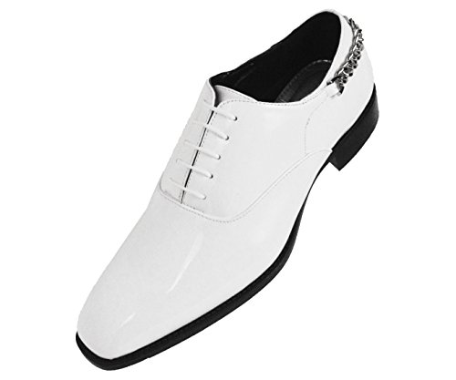 Toe Gold Mens Patent Heel Bolano Dress Oxford Shoe Plain Smooth with Shiny White Chain XwddvZ