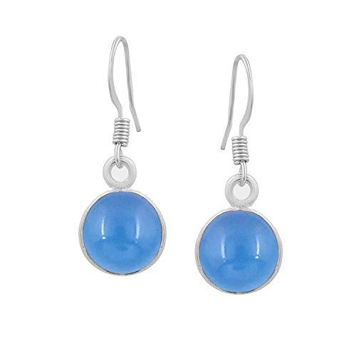 Chalcedony Dangle Earrings 925 Silver Plated Handmade Jewelry For Women Girls (Blue Chalcedony Dangle)