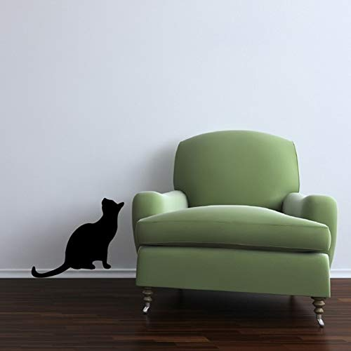 """Life Size Black Cat Sitting Looking Up Vinyl Wall Decal - 16"""" tall x 14"""" wide"""