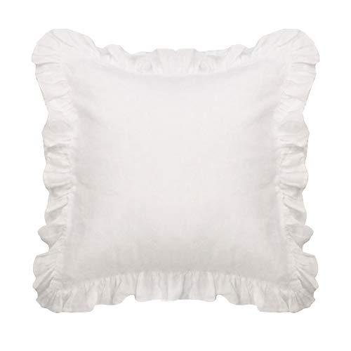 Simple&Opulence 100% Linen Throw Pillow Pure Flax Cushion Ruffles Cushion (White)