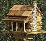 Amish Handcrafted Log Cabin Bird Feeder with Rock Chimney