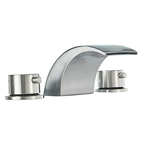 Bathfinesse 8-16 Inch LED Waterfall Widespread Bathroom Sink Faucet 3 Holes with Two Handles Commercial Brushed Nickel Lavatory Faucets ()