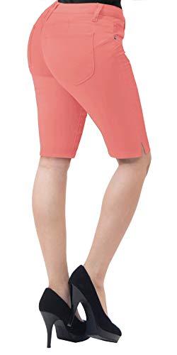 HyBrid & Company Womens Perfectly Shaping Hyper Stretch Bermuda Shorts B43308 Peach 5
