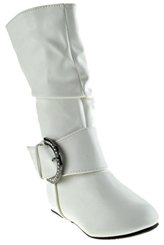 Bella 66 Little Girls Slouch Mid Calf Boots White 10 (Girls White Boots)