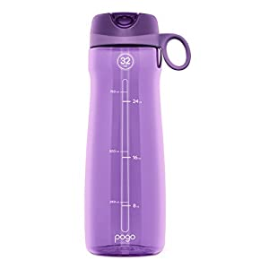 Pogo BPA-Free Plastic Water Bottle with Flip Straw, Purple, 32 oz/Standard