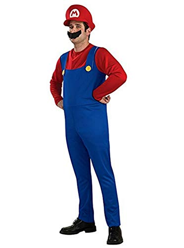 Super Mario Costume Luigi Brothers Deluxe Kids Cosplay Mens Adult Dress Up Party Costume Adult Red -