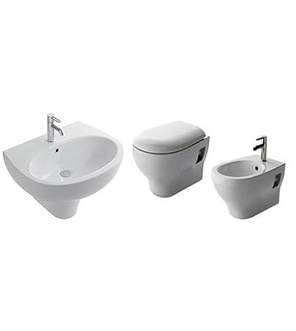 Sanitari bagno vaso sospesi,bidet e lavabo con semicolonna,coprivaso ...