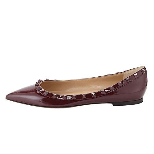 Arc-en-Ciel zapatos de las mujeres del remache del dedo del pie puntiagudo, más pisos de tamaño Grenat