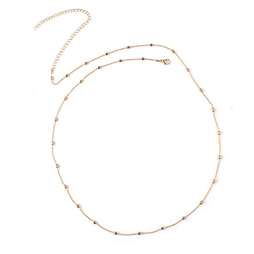 Phonphisai shop Women Bikini Link Beach Crossover Pearl Necklace Belly Body Waist Chain Color Gold