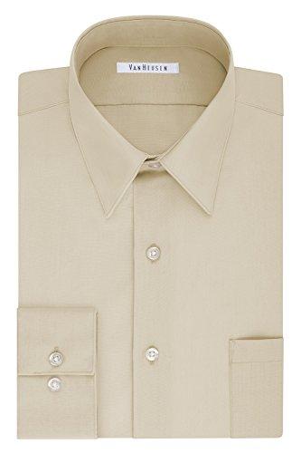 Van Heusen Men's Tall Dress Shirt Big Fit Poplin, Stone, 19