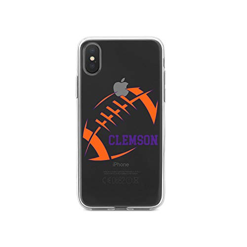 "Latest DistinctInk Clear Shockproof Hybrid Case for iPhone XR (6.1"" Screen) - TPU Bumper, Acrylic Back, Tempered Glass Screen Protector - Clemson Football - Orange, Regalia Purple orange iphone xr case 6"