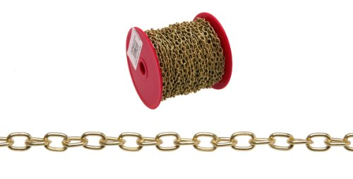 Campbell 0711917 Oval Link Chain on Reel, Brass Plated, 19 Trade, 0.043
