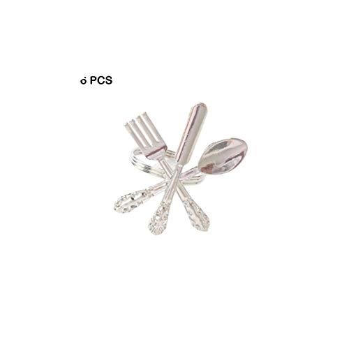 Creative Napkin Fork Knife Spoon Silver Napkin Ring 6Pcs Silver Gold Tableware Metal Napkin Ring Wedding Party,Silver