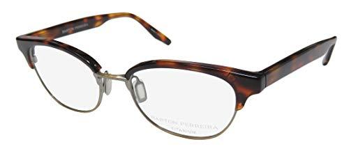 Barton Perreira Estelle For Ladies/Women Cat Eye Full-Rim Shape Titanium Eyes Hip Eyeglasses/Spectacles (49-17-140, Havana/Antique ()