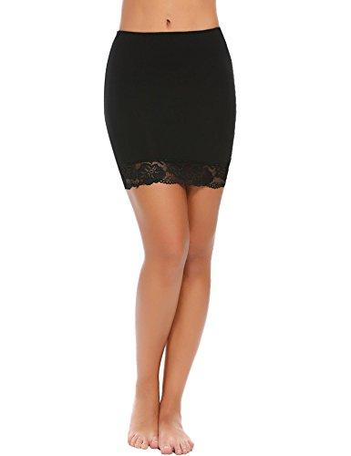 Slip Bodice (Skylin Ladies Lace-Trimmed Underskirt Short Bodice Basic Sleepwear for Dress Mini Nightgown (Black, XXL))