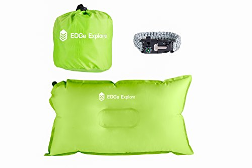Best Quality Inflatable Pillow for Travel and Camping, Includes Bonus Paracord Survival Bracelet, Air and Memory Foam for Neck Support, Perfect for Kids in Airplane, Car, Outdoors - Mouse Pad Kayak