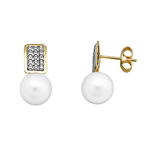 Boucled'oreille 18k or 8.5mm perle. zircons rectangle [AA5558]