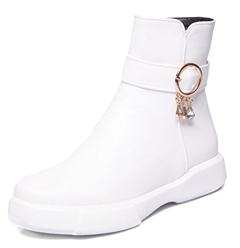 Aisun Plates Femme Bottines Rangers Chaussures Boots Low Mode Strass Blanc IdIqFwr