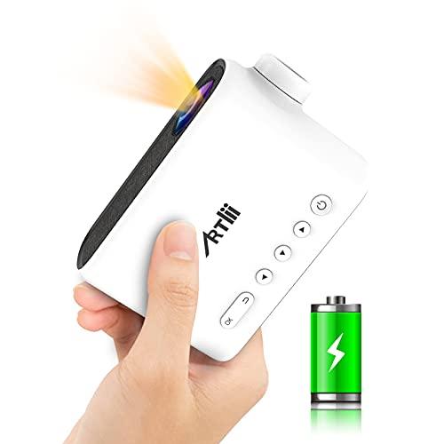 Mini Beamer Ingebouwde Batterij, 2021 Artlii Q Mini Projector, 1080p Full HD Ondersteund, Oplaadbare Draagbare Video…