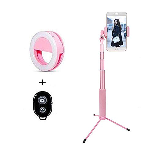 Selfie Stick Bluetooth, Keledz 63 Inch Extendable Wireless Remote Selfie Stick with Tripod Stand and Light Compatible for iPhone X/iPhone 8/8 Plus/iPhone 7/7 Plus,Galaxy S9/S9 Plus/S8/More (Pink) ()