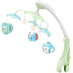 GrowthPic Musical Baby Crib Mobile with Star Projector Nursery Function, Foldable Arm, Hanging Rotating Safe Infant Playing Teether and Loudspeaker with 30 Melodies, Upgraded Color