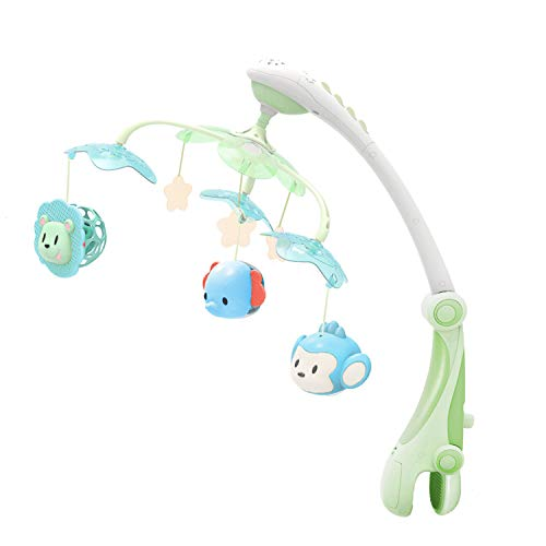 GrowthPic Musical Baby Crib Mobile with Star Projector Nursery Function, Foldable Arm, Hanging Rotating Safe Infant Playing Teether and Loudspeaker with 30 Melodies, Upgraded Color by GrowthPic