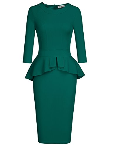 MUXXN Womens Cute Peplum Desgin Half Sleeves Tunic Work Summer Pencil Dress (Dark Green L)