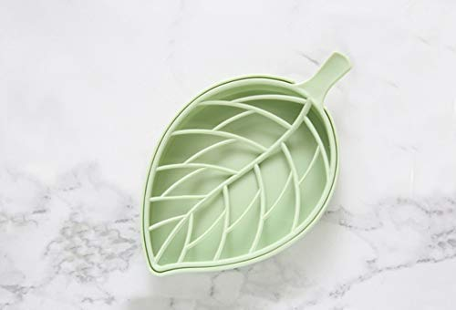 soap dish, leaf-shaped soap holder,beauty and fashionable soap saver, for bathroom-easy to clean, pratical and impressive (green)