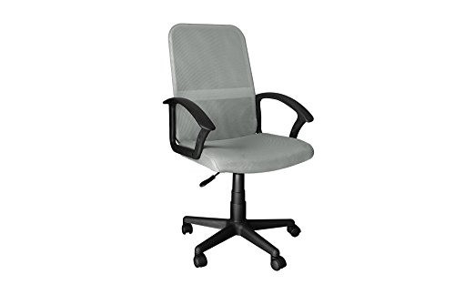 Urban Shop Padded Seat and Mesh Back with Rolling Casters Wheels Office Chair in Silver (Wheel 22' Silver)
