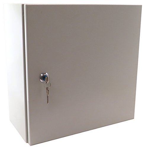 Wall Nema Mount 12 - Yuco Fully Enclosed (No Gland Plate) IP66 Enclosure with 1 set of Lock and Keys, UL Certified, Nema 4, 16 Gauge, Single Door Hinge Cover, Wall-Mount, Galvanized Backplate (20 x 12 x 8)
