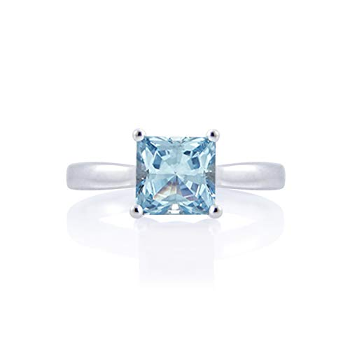 Diamond Scotch 2 Ct Princess Cut Brilliant Simulated Aquamarine Solitaire Wedding Engagement Ring 14k Gold Plated Size-10.5