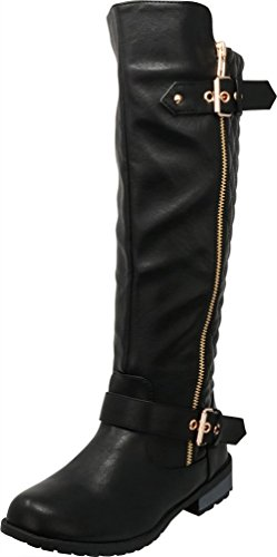 Cambridge Select Women's Quilted Side Zip Knee High Flat Riding Boots,9 B(M) US,Black