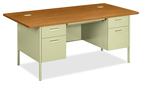 Desking Pedestals - HON Metro Classic Double Pedestal Desk with 2 Box/2 File Drawers and Putty Finish, 72