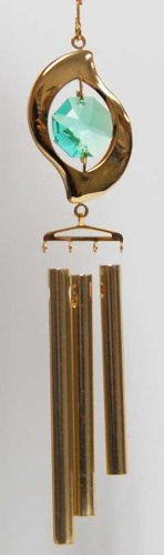 - 24K Gold Plated Wind Chime Sun Catcher or Ornament..... leaf Shapped Icon With Green Swarovski Austrian Crystal