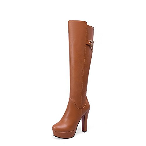 Brown Zipper Material Women's Soft High Heels Solid Boots top Allhqfashion High PfHCnq1pw