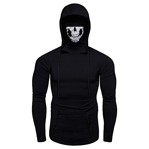 - Skull Mask Hoodie Sweatshirts Men's Fashion Pullover Hooded Casual Tops Colmkley
