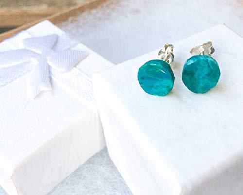 (Eilat stones stud earrings, Round eilat stone earrings, stud earrings, blue green shades, button earrings, round gem studs )