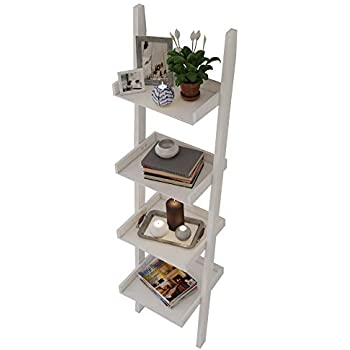 Amayo Home 4 Tier Bookcase White Ladder Shelf Unit Display Shelves Storage Shelving Leaning Bookshelf