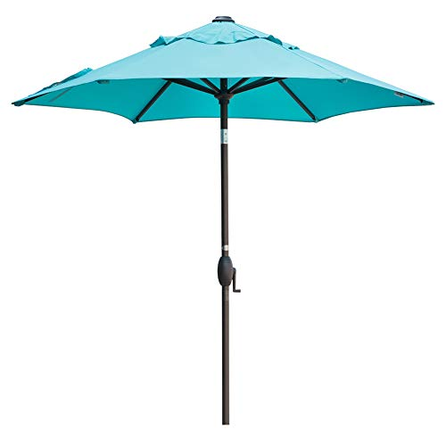 Abba Patio 7.5 Ft Patio Umbrella with Easy Push Button Tilt and Crank Lift, Turquoise